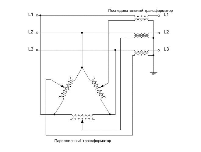 Схема устройства фазоповоротного трансформатора