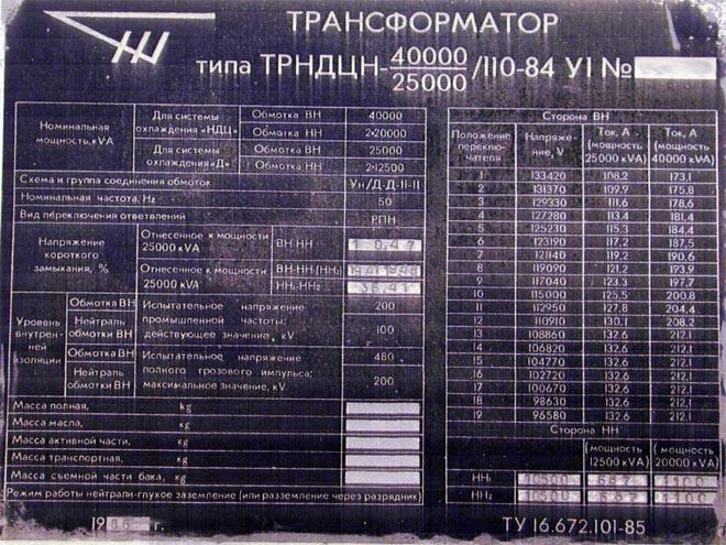 Трансформатор ТРНДЦН 110 КВ маркировка