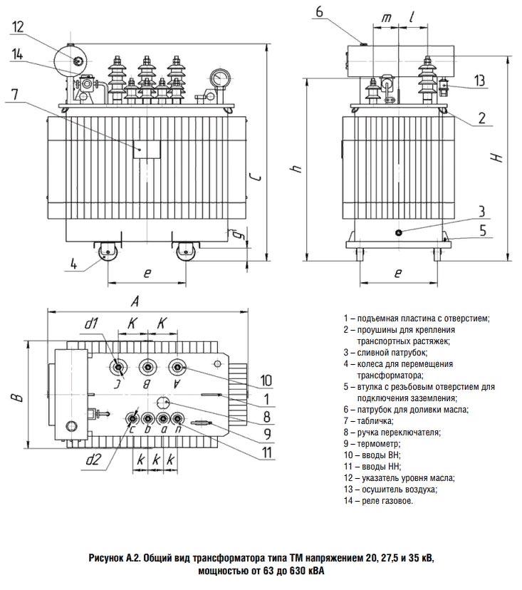 Общий вид и размеры ТМ 35 kV