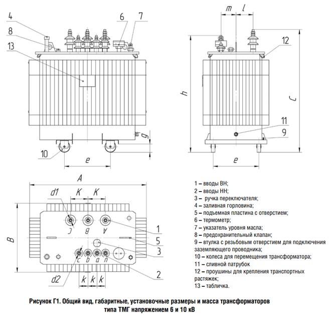 Общий вид трансформатора типа ТМГ 10 кВ