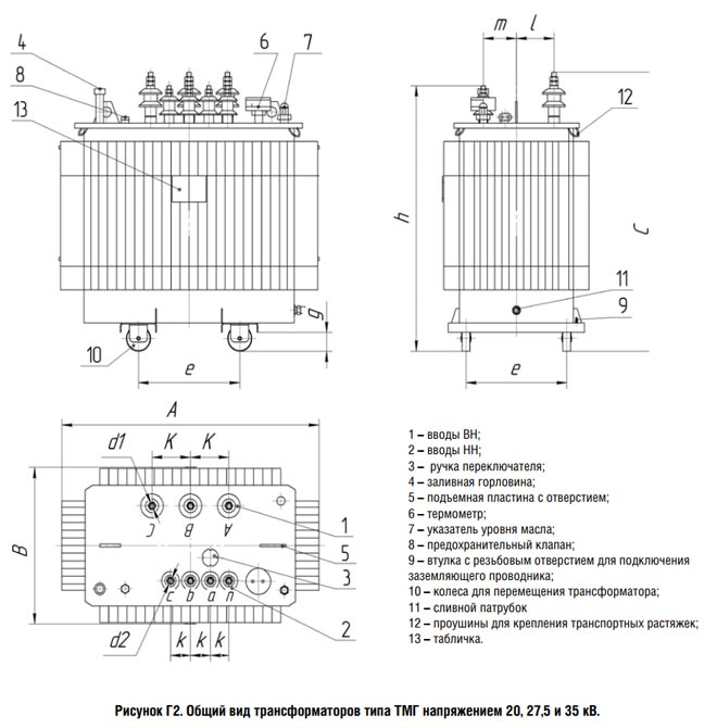 Общий вид трансформатора типа ТМГ 35 кВ