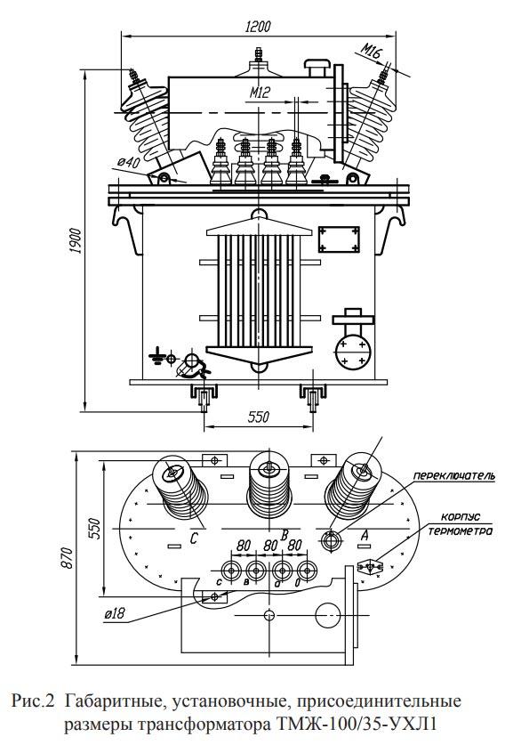Размеры трансформатора ТМЖ